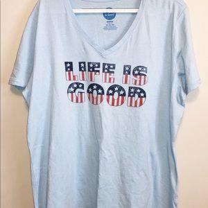 Life is Good STARS & STRIPES Blue Vee S/S T-Shirt